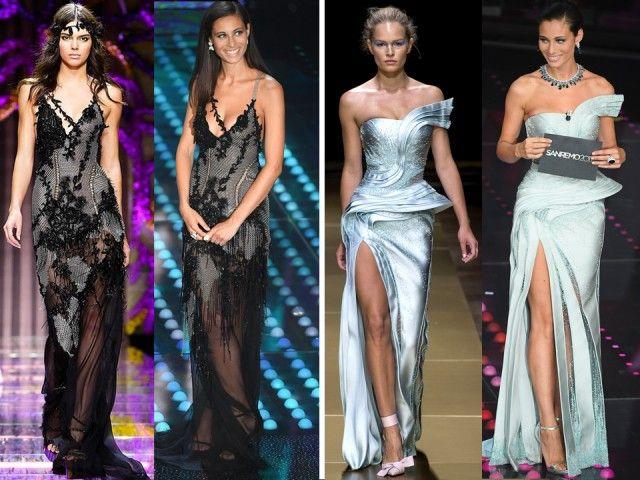Due look di Marica Pellegrinelli: nero Atelier Versace AI 2015/16; l'azzurro argento Atelier Versace AI 2016/2017