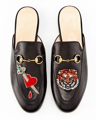 Princetown Appliquéd  Embellished Pelle Slippers, Nero   Appliquéd Shoes 459344