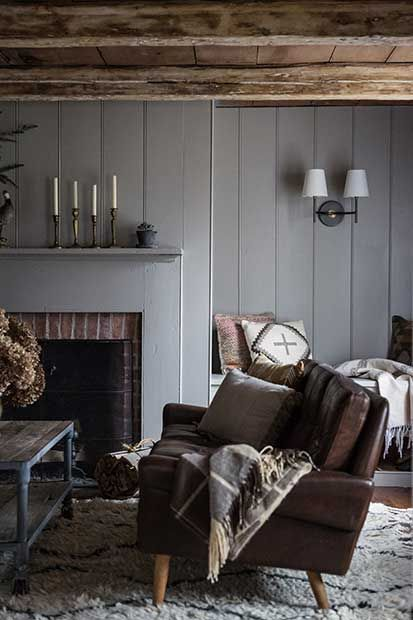 Cozy With Gray Shiplap Walls And A Mid Century Leather Sofa Jersey Ice Cream Co