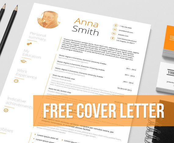 Resume Template no1 + Cover letter + Reference page + Business cards