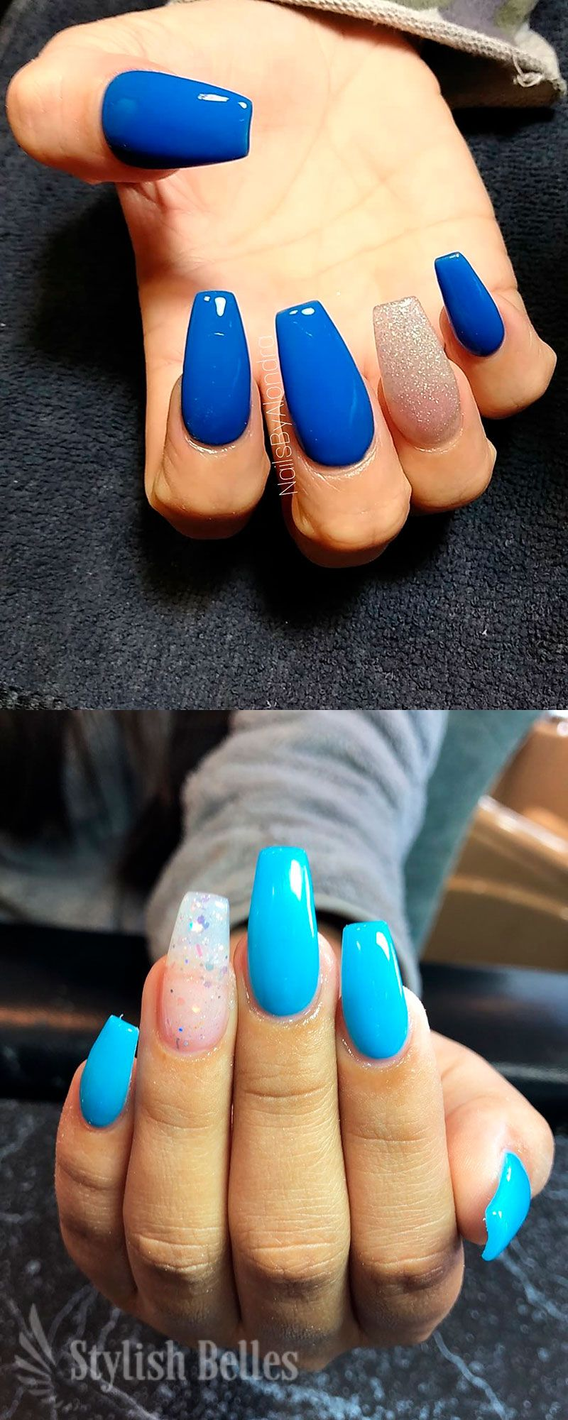 Cute Blue Coffin Nails With An Accent Glitter Nail Ideas Blue Acrylic Nails Coffin Nails Blue Coffin Nails