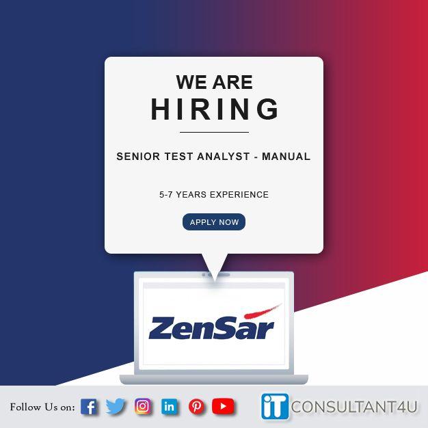 Zensar Hiring Manualtester Itconsultant4u Help Finding A Job Job Search Job Posting