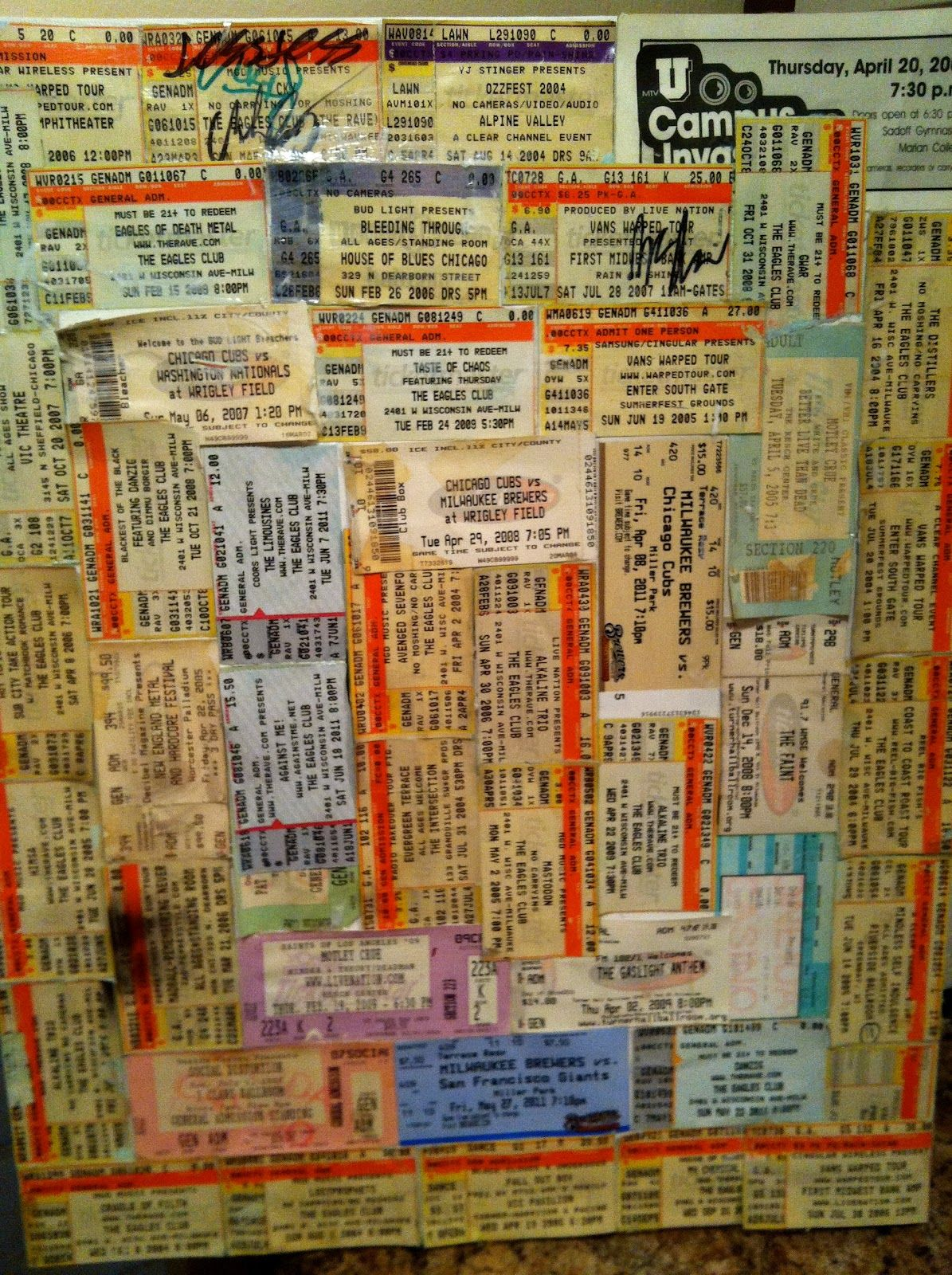 Delightful I Have So Many Concert Tickets, Going To Make A Large Frame! Concert Ticket  Make Concert Tickets