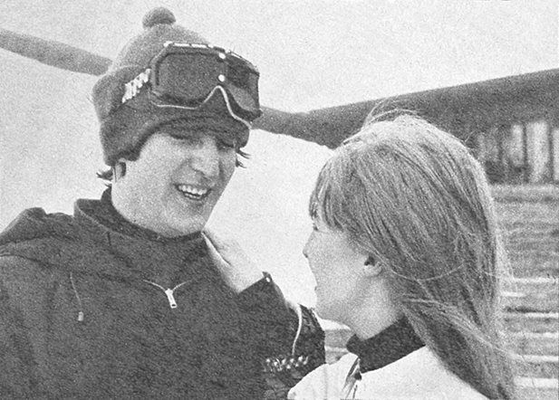 February 28, 1965 - John and Cynthia on a ski holiday in St. Moritz, Switzerland.