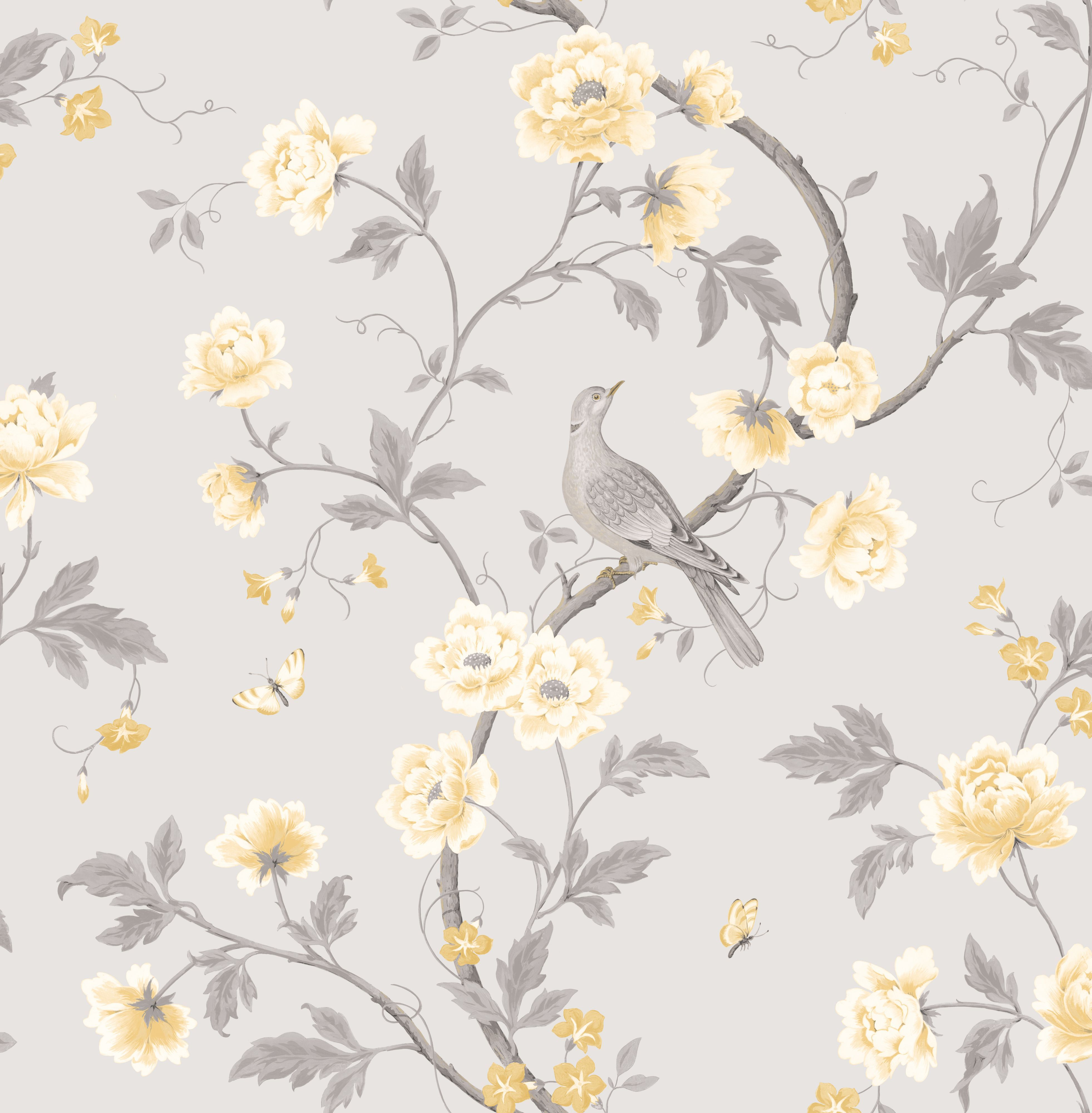 Floral Black And Grey Nature Tattoo: Colours Dorthea Soft Grey Floral Mica Effect Wallpaper