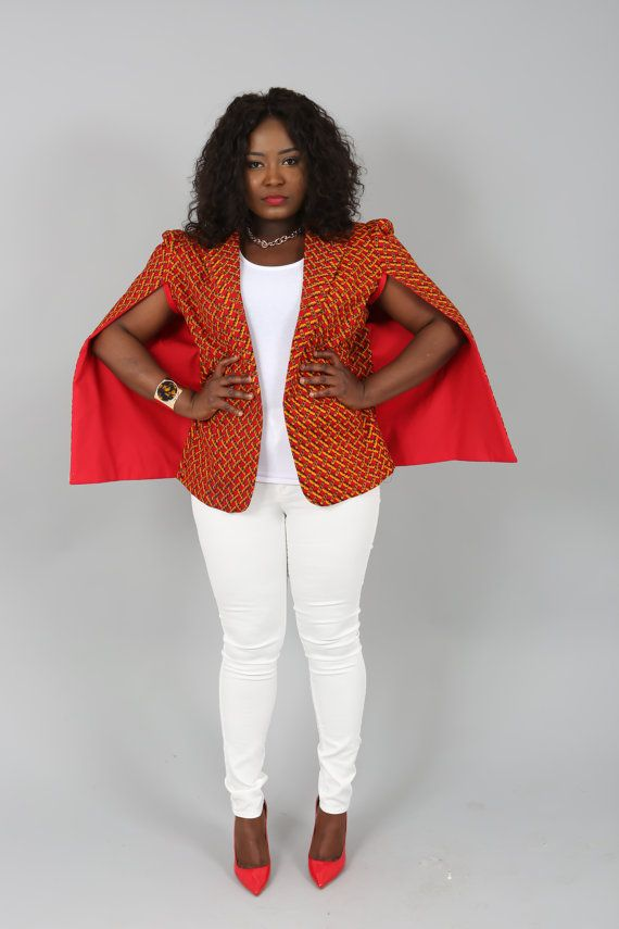 Modern and sleek, this structured Ankara cape blazer makes the perfect  layering piece. It features a caped overlay .A light weight blazer you can  dress up ... 97b42ae63e1b