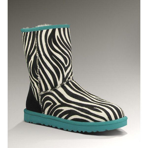 dc205ee70af UGG Classic Short Exotic Women's Zebra/Deep Aqua Boots ($240 ...