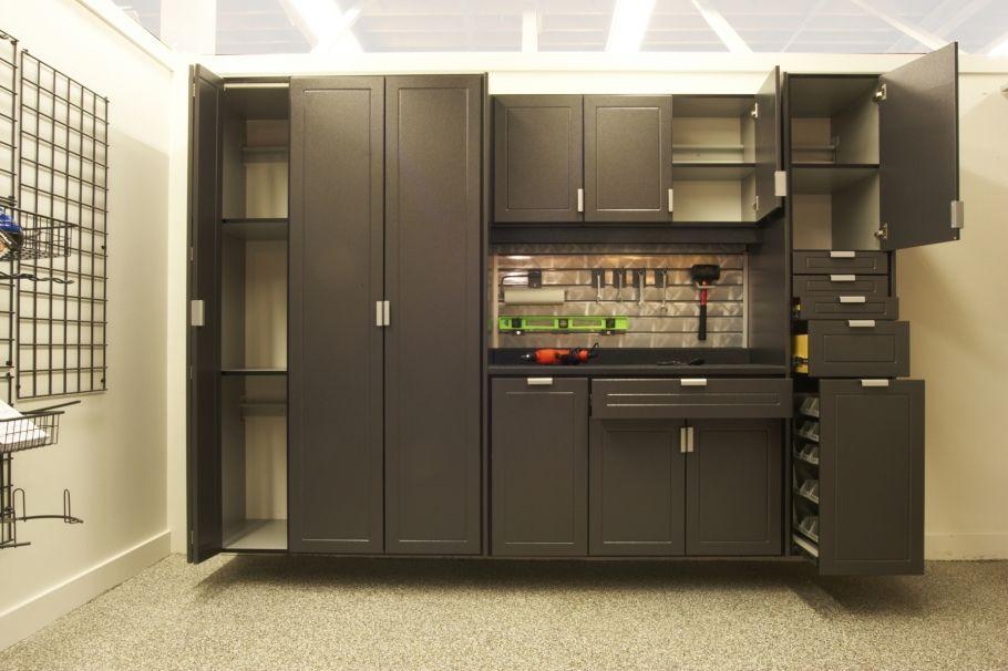 Diy Garage Storage Ideas Modern Garage Cabinetry Ideas Tile Custom Floor Black Redline Diy Garage Storage Cabinets Garage Storage Cabinets Diy Kitchen Remodel
