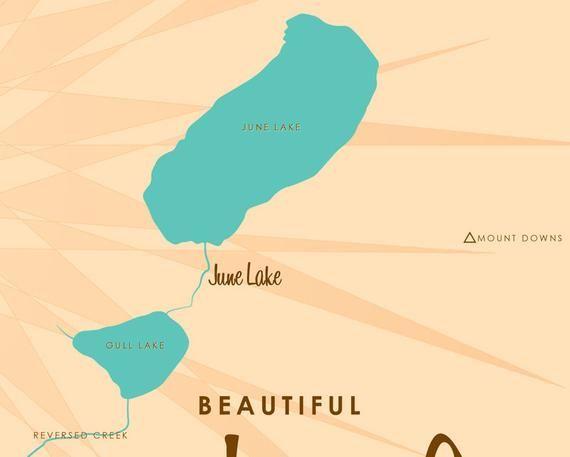 june lake loop map June Lake Loop Ca Map Art Barrel End Map Art June Lake Loop june lake loop map