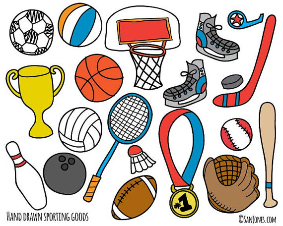 Sports Clip Art Hand Drawn Clip Art Sporting By Sanjonesdigi 6 00 Pegatinas Imprimibles Carpetas Decoradas Manualidades Dia Del Padre