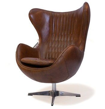 Bon Vintage Leather Wing Back Swivel Chair