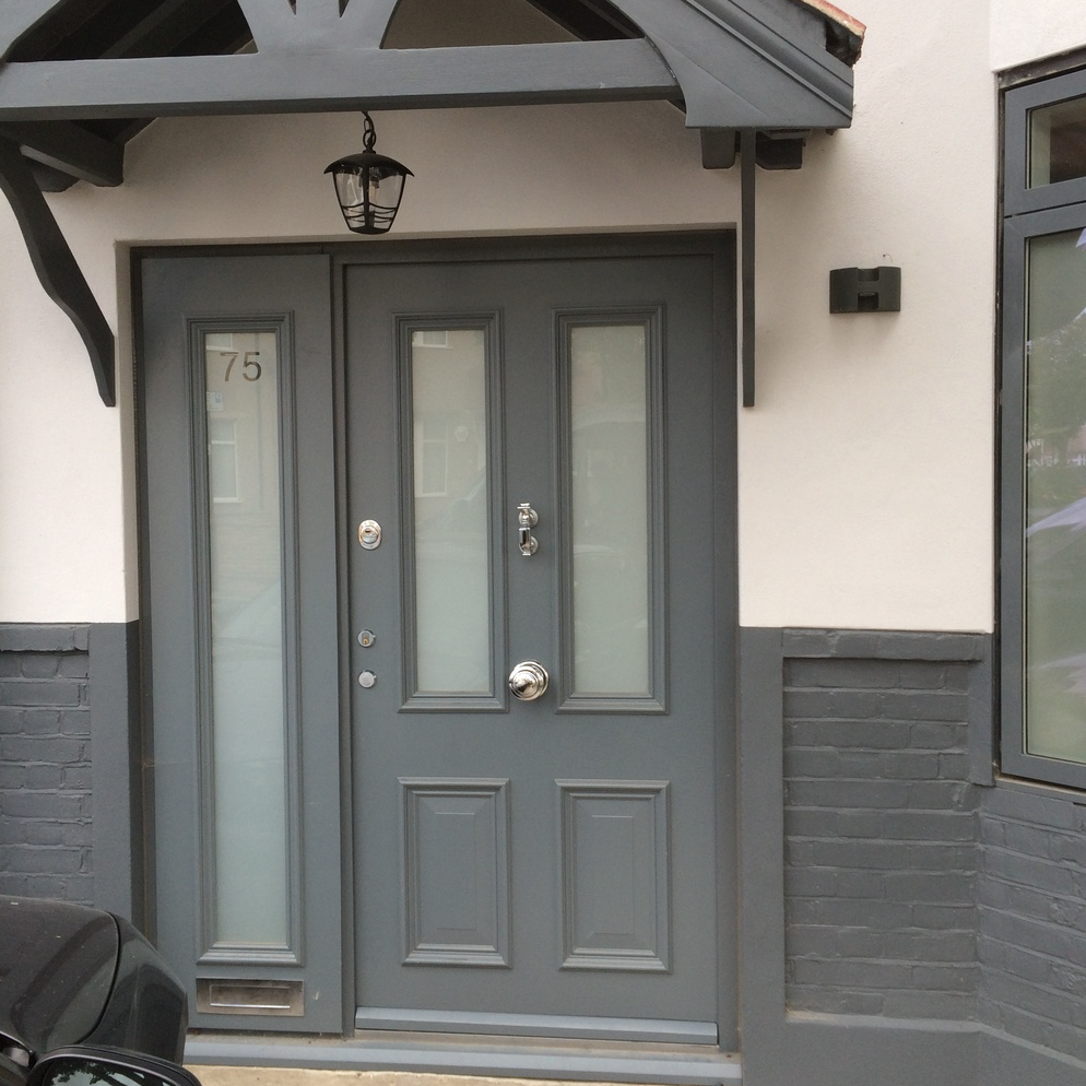Grey Victorian Door With Obscure