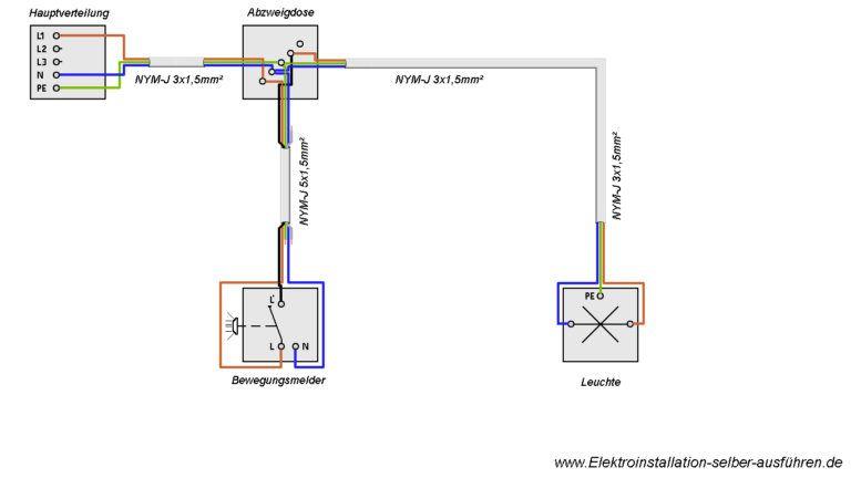 Schaltplan Eines Bewegungsmelders Mit Einer Lampe Schaltplan Bewegungsmelder Elektroinstallation