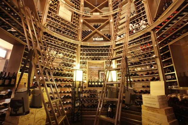 octagonal glass wine tower at David Burke Prime at Connecticutu0027s Foxwoods Casino and Resort & Five Over-the-Top Wine Cellars You Have to See to Believe ...