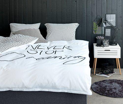 Zwart wit in de slaapkamer- Dekbedovertrek DICTE 240x220 KRONBORG ...