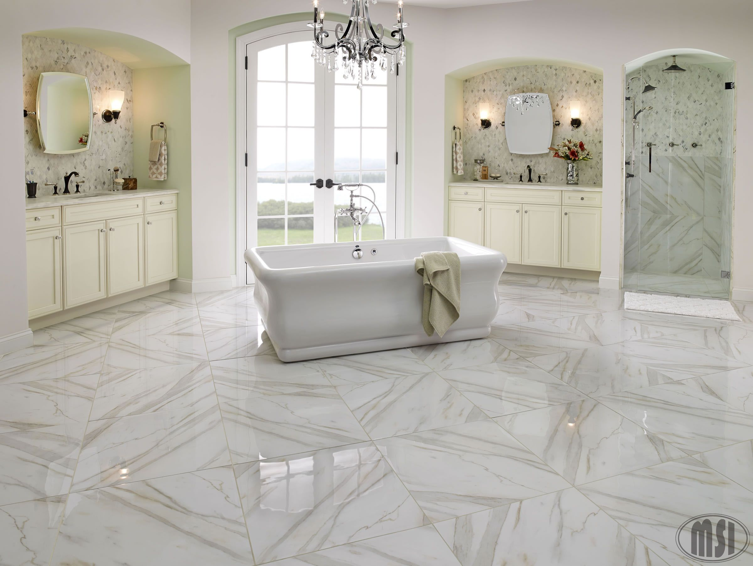 Porcelain pietra calacatta 24x24 stunning luxurious for Masters wall tiles