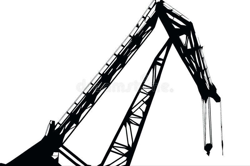 Crane Black and white silhouette of a crane
