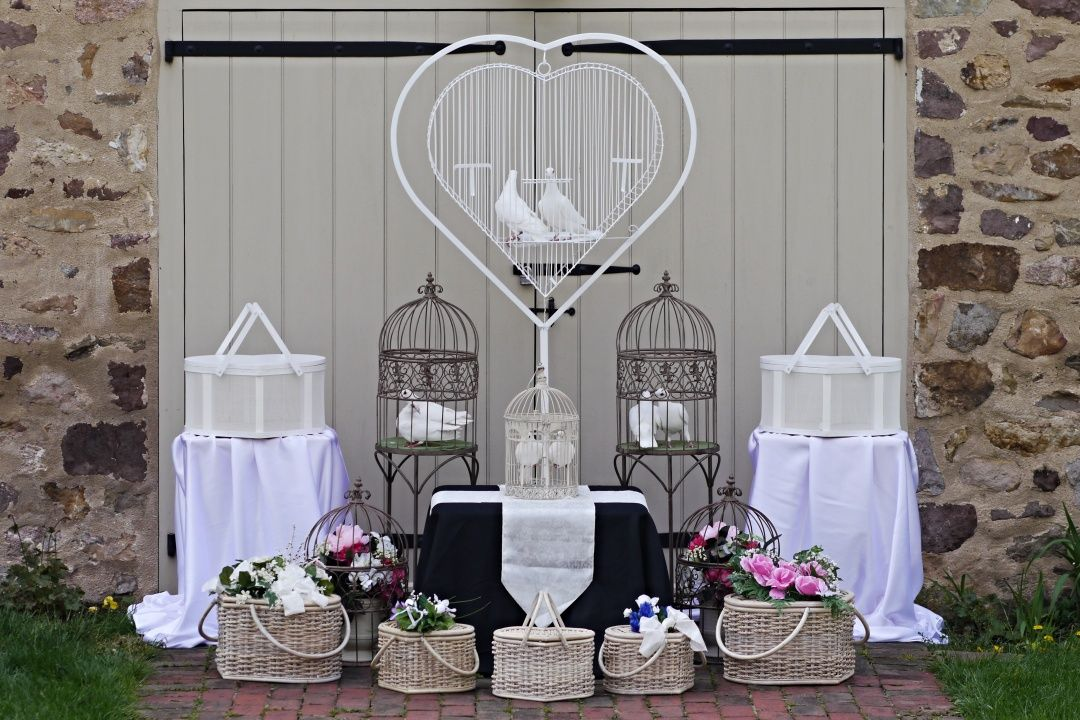 Some of our beautiful dove release baskets and cages! in
