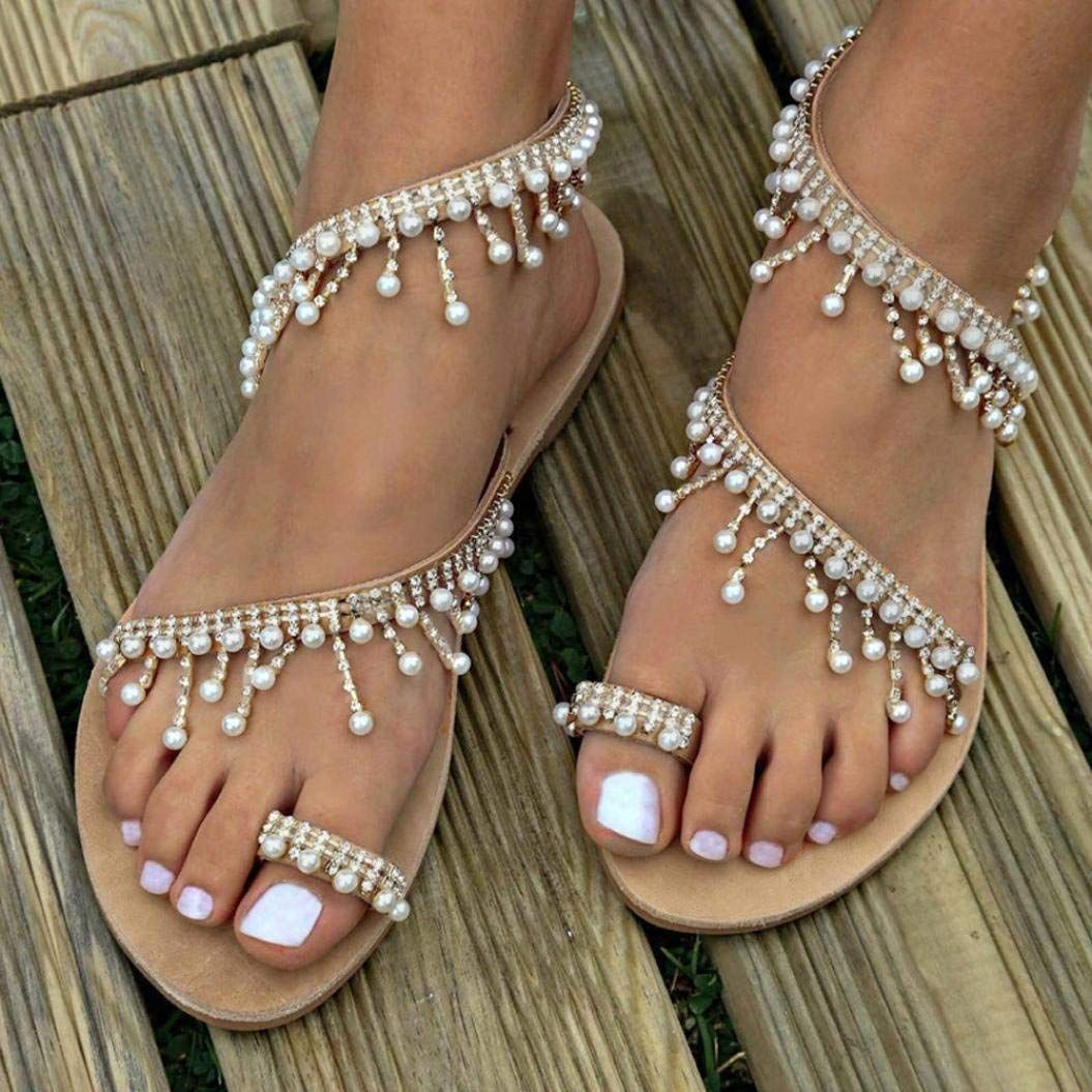 5df3bd2b5fead Amazon.com: haoricu Clearance Women's Wedding Sandals Pearl Flats ...