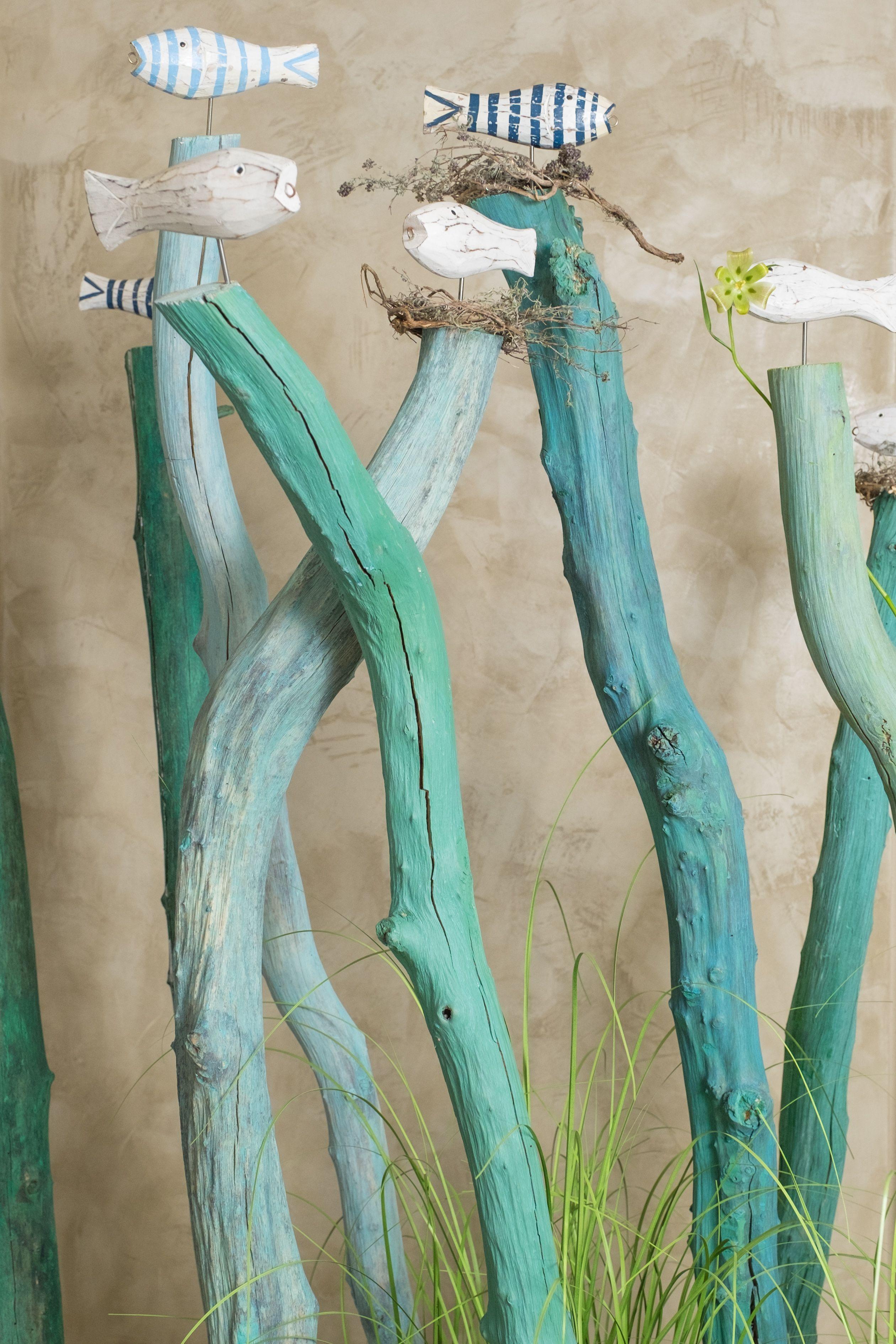Fische / Stäbe / garten / Sommer / Deko / blau / grün / weiß / hellblau / handmade / fish decoration / multicolored / garden / home decor / art #weihnachtsdekobalkon