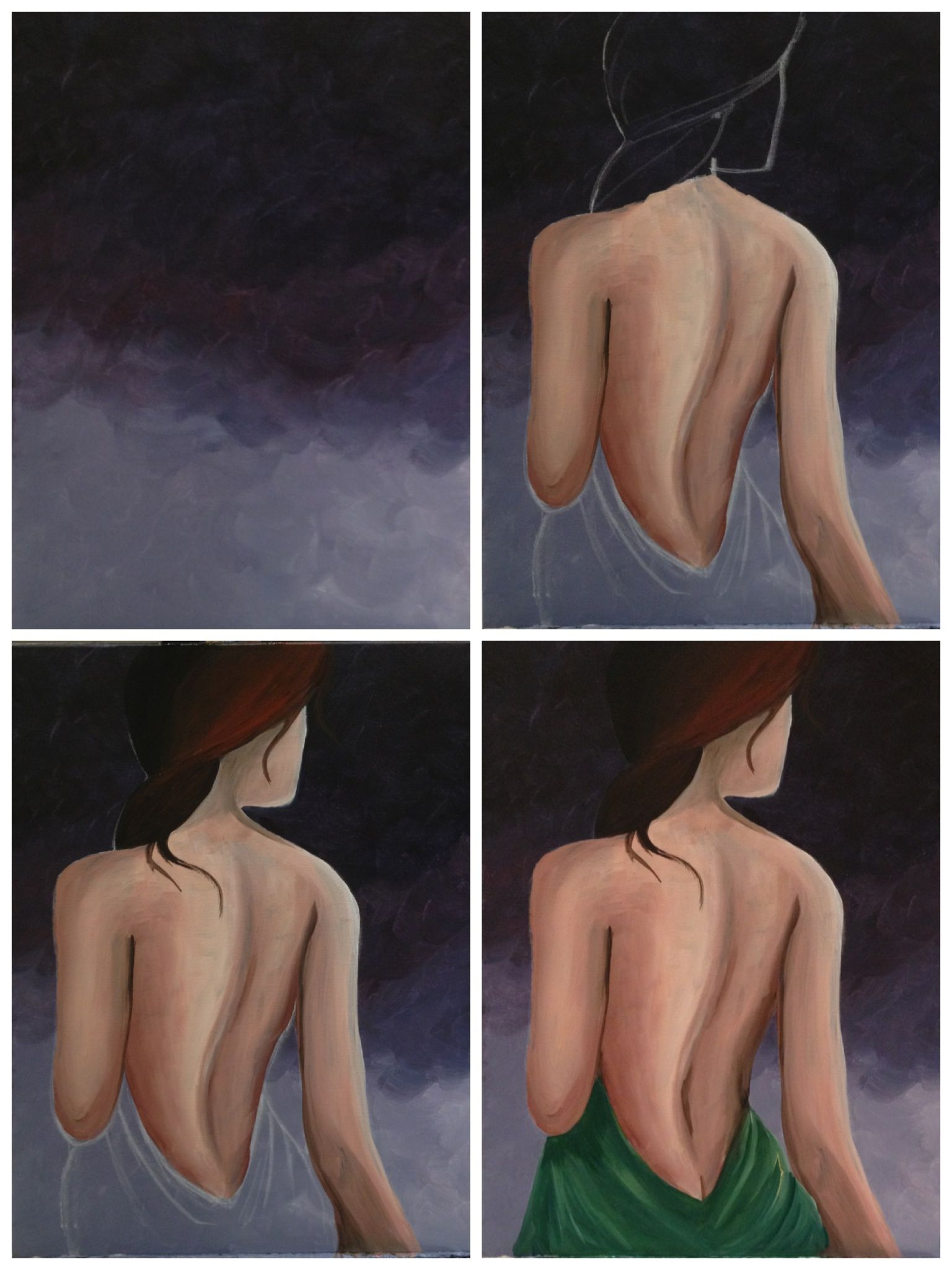 """Evolution of """"Sheer Beauty"""" painted @ Painting with a Twist Miami."""