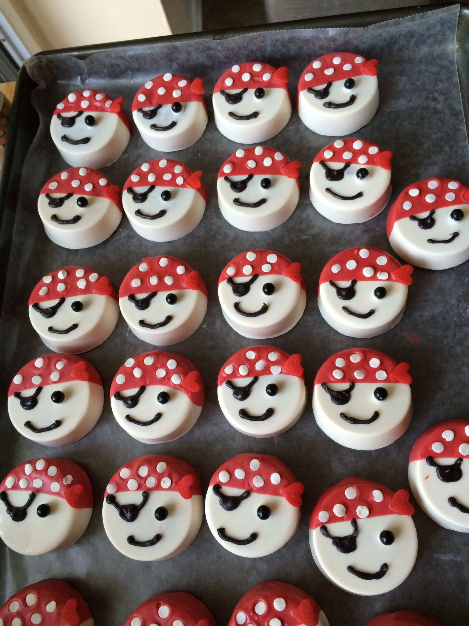 12 Pirate Oreo cookie pops  pirate birthday party favor  chocolate covered Oreo  one dozen