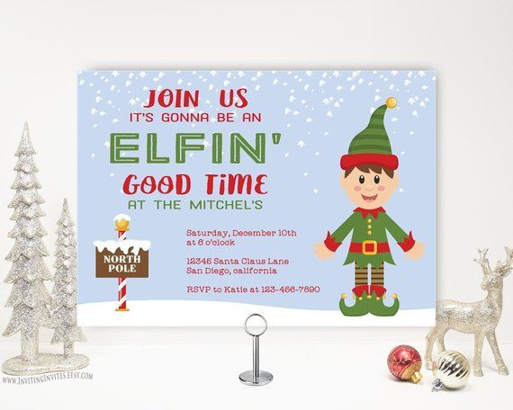 Elf Christmas Party Invitation, Funny Holiday Party, Holiday Open
