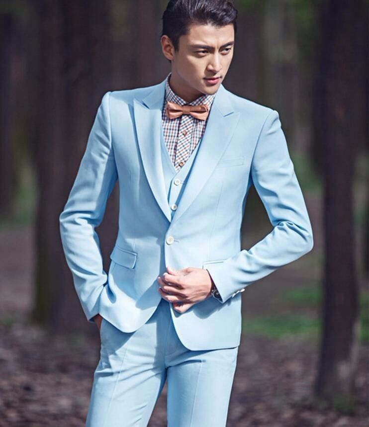 Latest Coat Pant Designs Sky Blue Wedding Suits For Men Formal ...