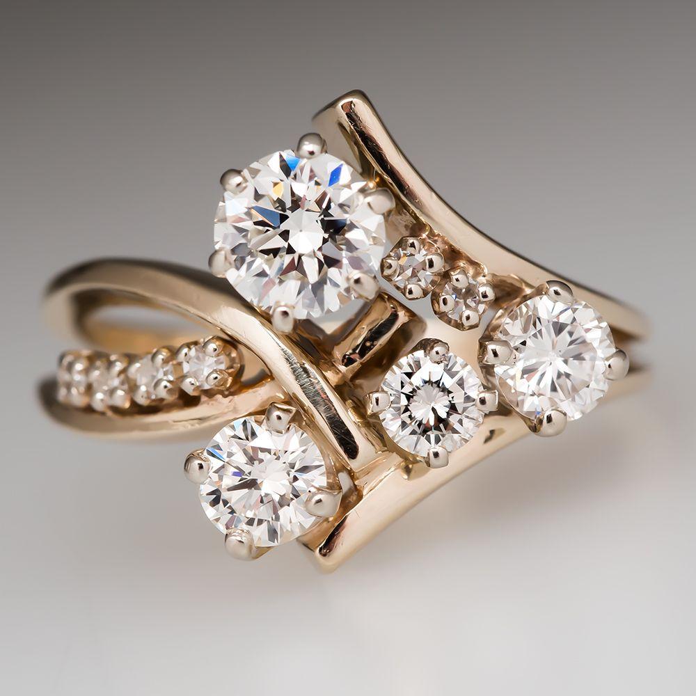 Freeform Diamond Cluster Ring 14k Gold Ring Bling Jewel