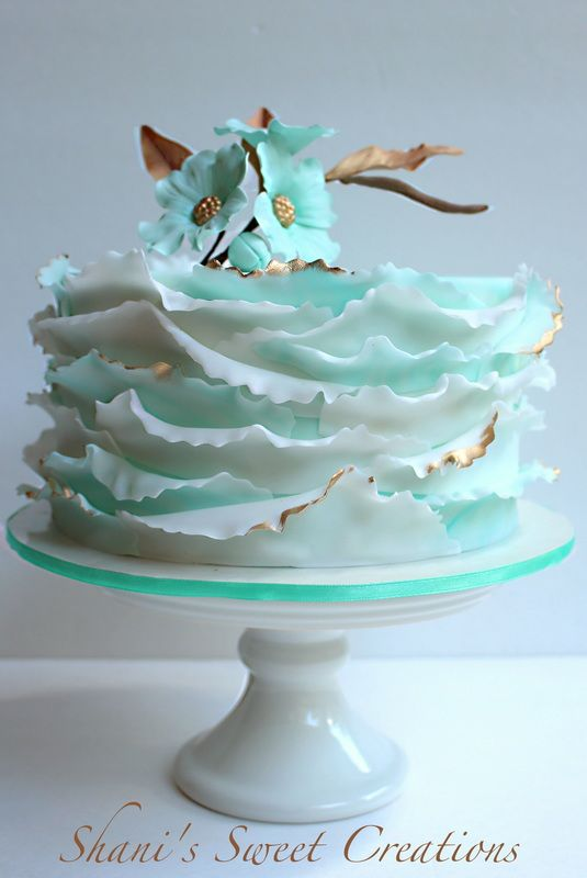 Cake designs & Ocean waves inspired wedding cake with sugar dogwood blooms made by ...