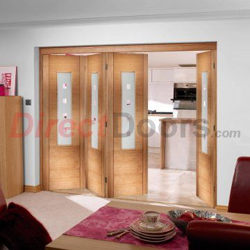 Nuvu Folding Coruna Oak 4 Door Set with Frosted Glass, 2078mm high and 2512mm or 2816mm wide.  #nuvuoakdoors