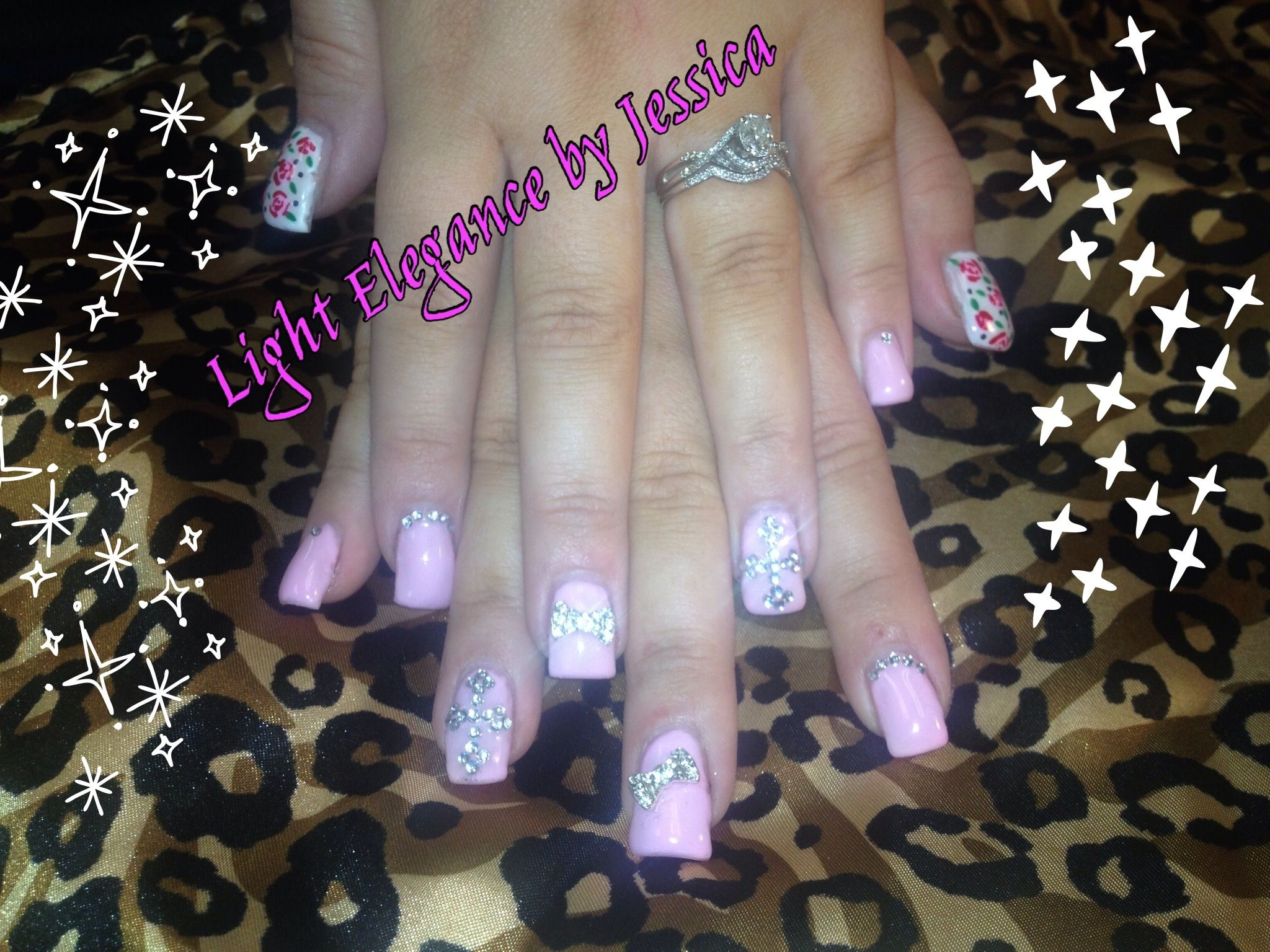 Light Elegance gel nails. Rhinestone Cross and 3D bow nail art ...
