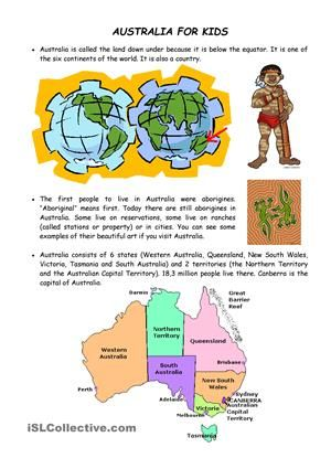 Australia : FREE worksheet containing facts about Australia
