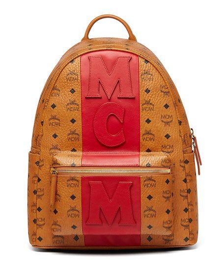f389aca58 MCM Stark Stripe Visetos Backpack, Brown. #mcm #bags # | Mcm Men ...