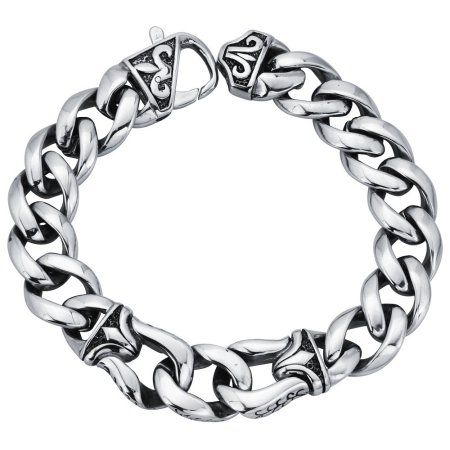 White Curb Meaning >> Mens Curb Link Bracelet In Stainless Steel 8 5 Inches Men S