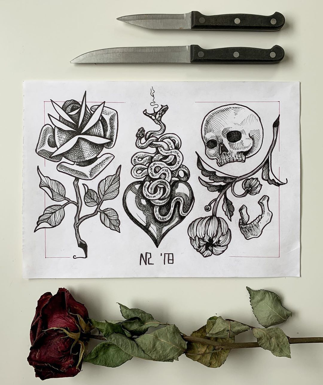 🥀Romance/poison/death🥀 • • • • • #tattoo #drawing #flashtattoo #blackandwhite #Sketch #sketchbook #rose #design #tattoodesign #skull #ink #blackandgrey #linework #snake #snakes #death #latergram #composition
