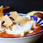Chicken Tortilla Soup Recipe [Step-by-Step] #chickentortillasoup Closeup of a Bowl of Chicken Tortilla soup #chickentortillasoup