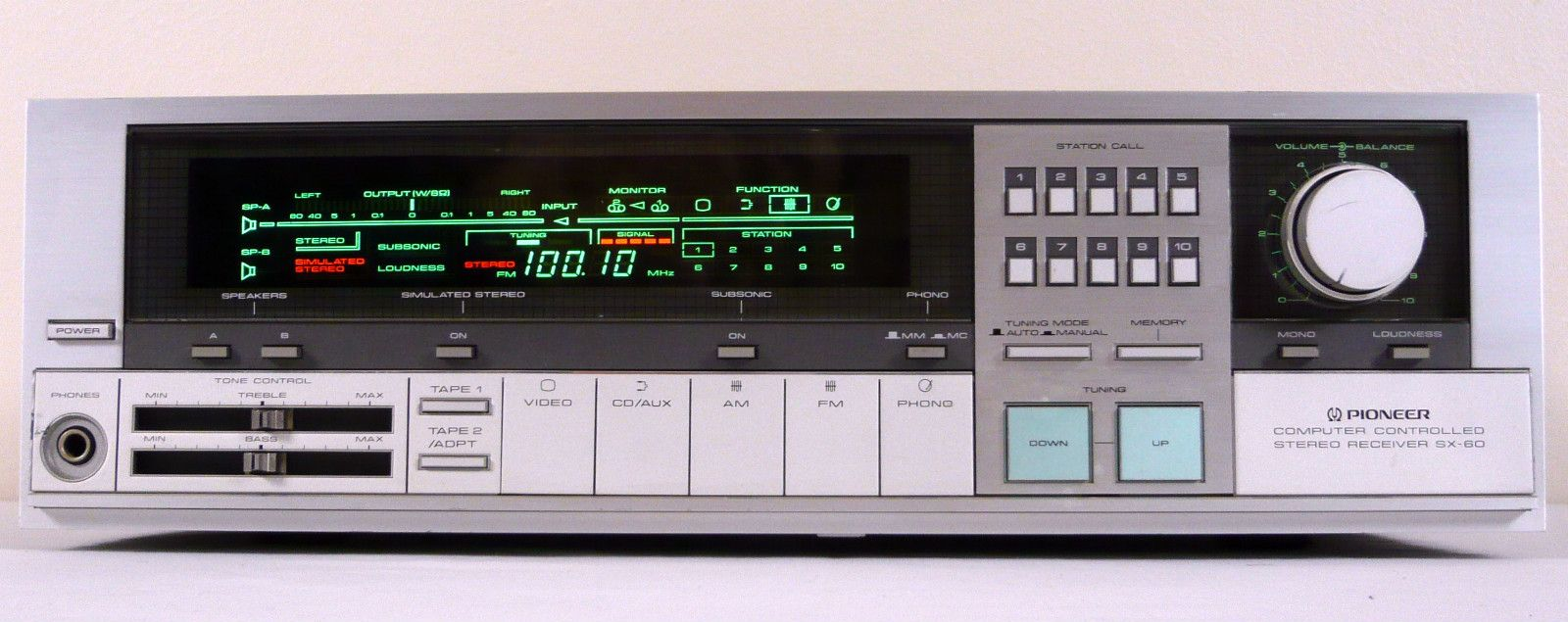 pioneer sx 60 vintage computer controlled stereo receiver. Black Bedroom Furniture Sets. Home Design Ideas