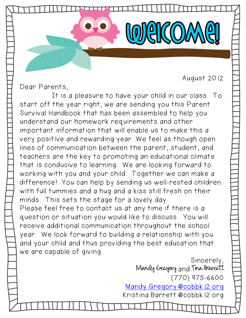 welcome back to school letters for teachers