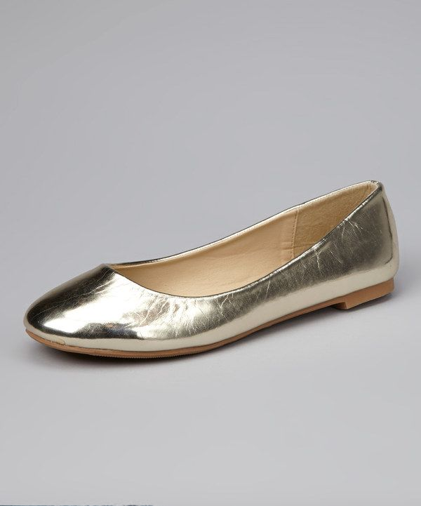 Look at this #zulilyfind! Gold Macy Ballet Flat by Skyler #zulilyfinds