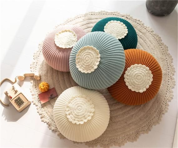 Handmade Round Pillows - Pillow Lumbar - Home Decor - Knitted Pillow - Boho Pillow - Cushion - Deora