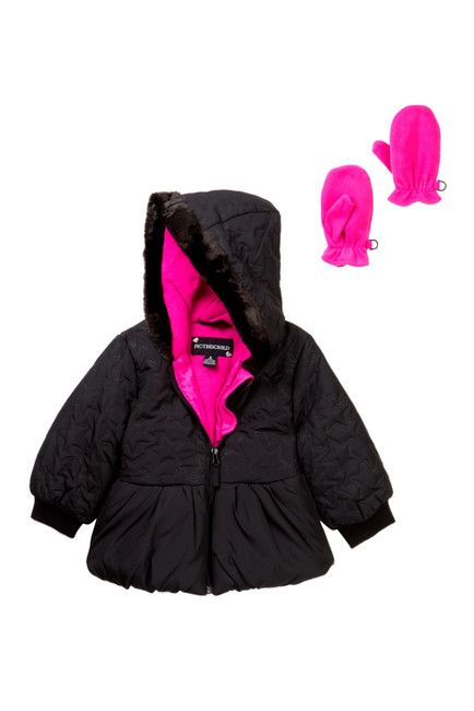 843c1d172992 Rothschild Star Quilted Puffer Jacket with Mittens (Little Girls ...