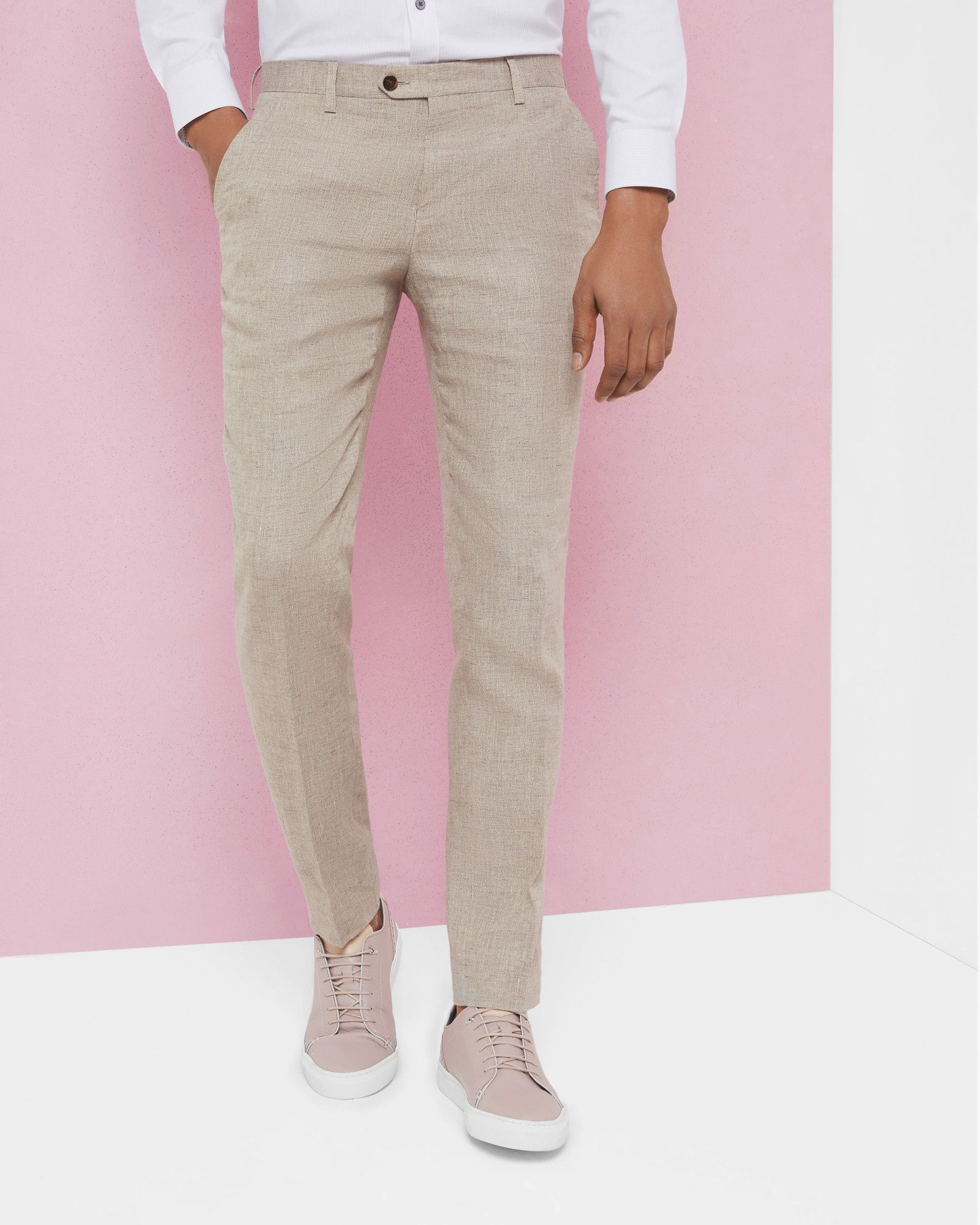 7be6ebce8 Ted Baker Debonair linen trousers Taupe