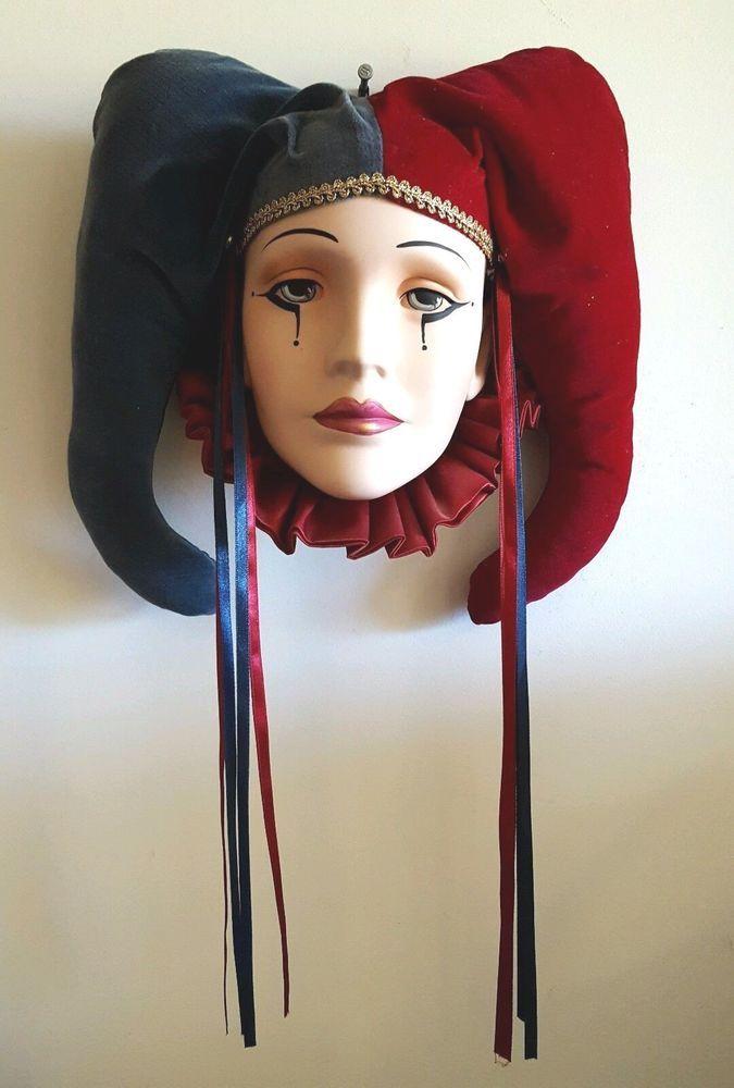 "Large 10x13"" BEAUTIFUL Pierrot Harlequin Clown Jester MASK Head Face Velvet #VenetianMardiGras"