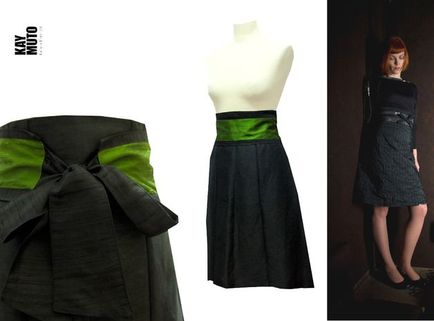 Made to Measure Skirts – Elegant high waist skirt in black silk with Obibel – a unique product by KAYMUTO on DaWanda
