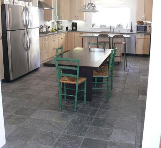 Types Of Kitchen Flooring Ideas: Gray Slate Floor, Light Maple Cabinets, Stainless Steel