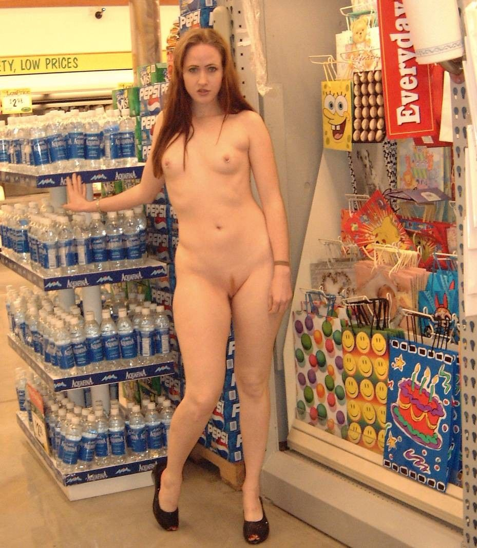 Nude girls in grocery store