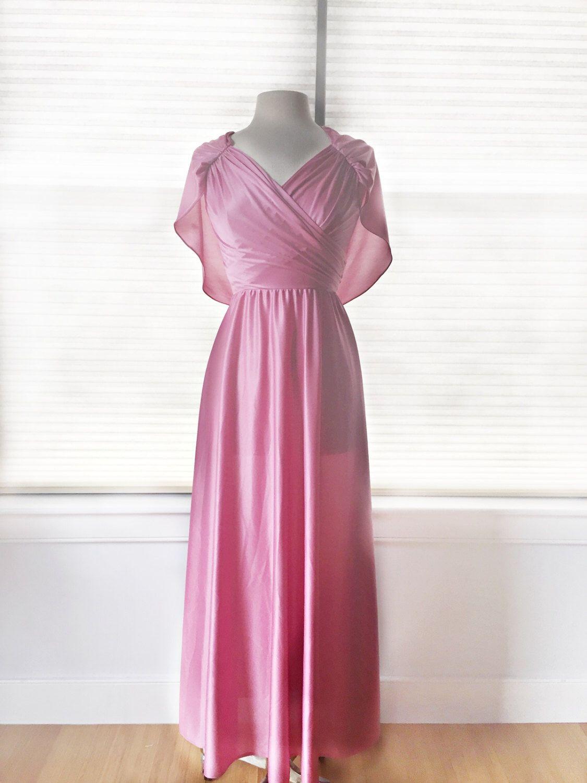 Vintage 70s pastel rose dress/ pink bridesmaid dress/ capelet ...