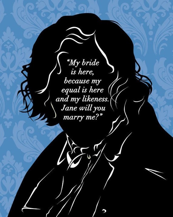 Jane Eyre Literary Art Print Mr Rochester Proposal Quote