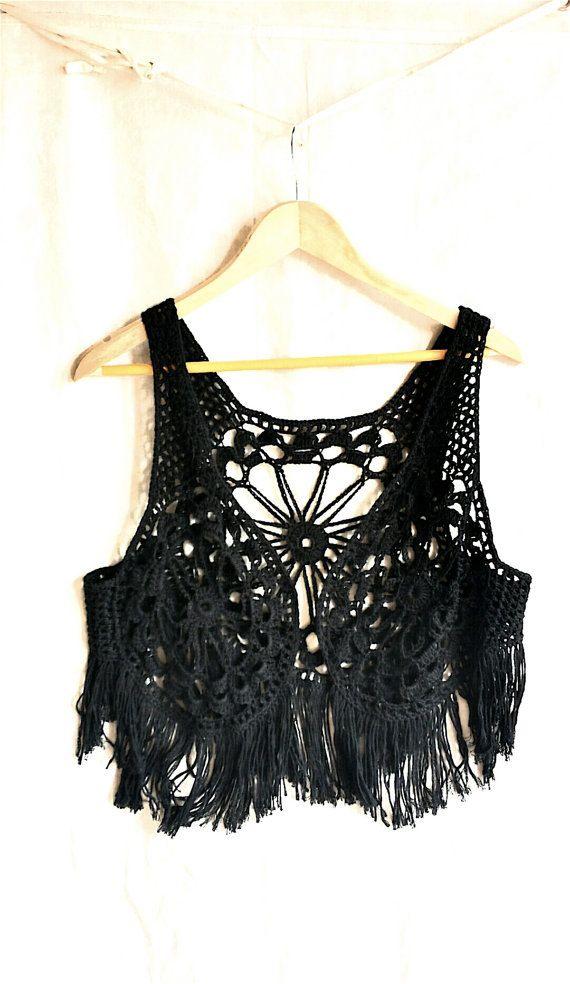 reputable site c61a6 ba918 Crochet chaleco con flecos boho hippie chaleco chaleco de ...